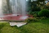 Оцветиха в червено фонтан в Докторската градина
